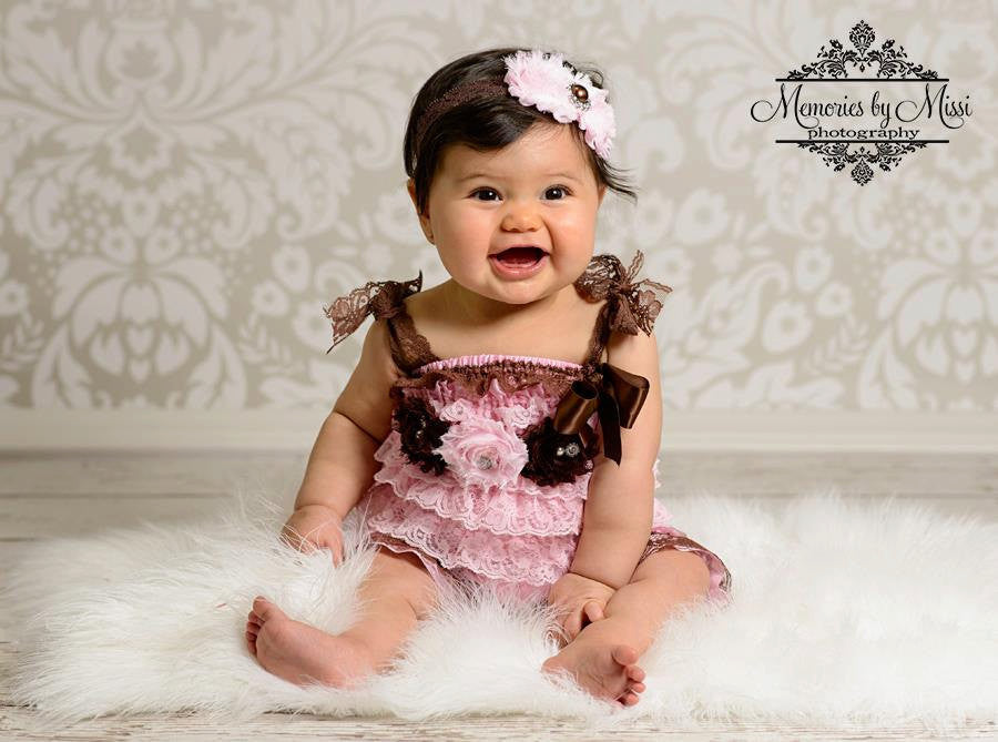 Chocolate Pink Lace Petti Romper set - Happy BOWtique - children's clothing, Baby Girl clothing