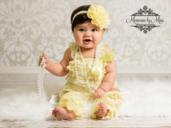 Light Yellow Romper Set - Happy BOWtique - children's clothing, Baby Girl clothing
