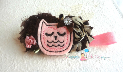 Chocolate Pink Owl Headband - Happy BOWtique - children's clothing, Baby Girl clothing