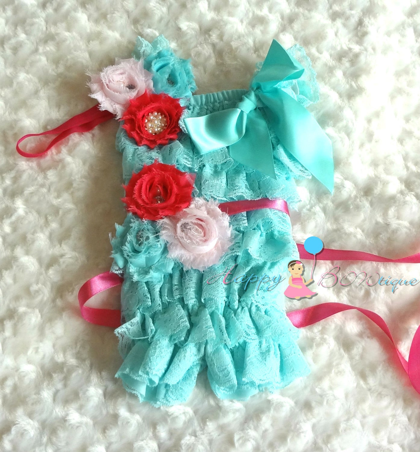 Aqua Pink Petti Lace Romper set - Happy BOWtique - children's clothing, Baby Girl clothing