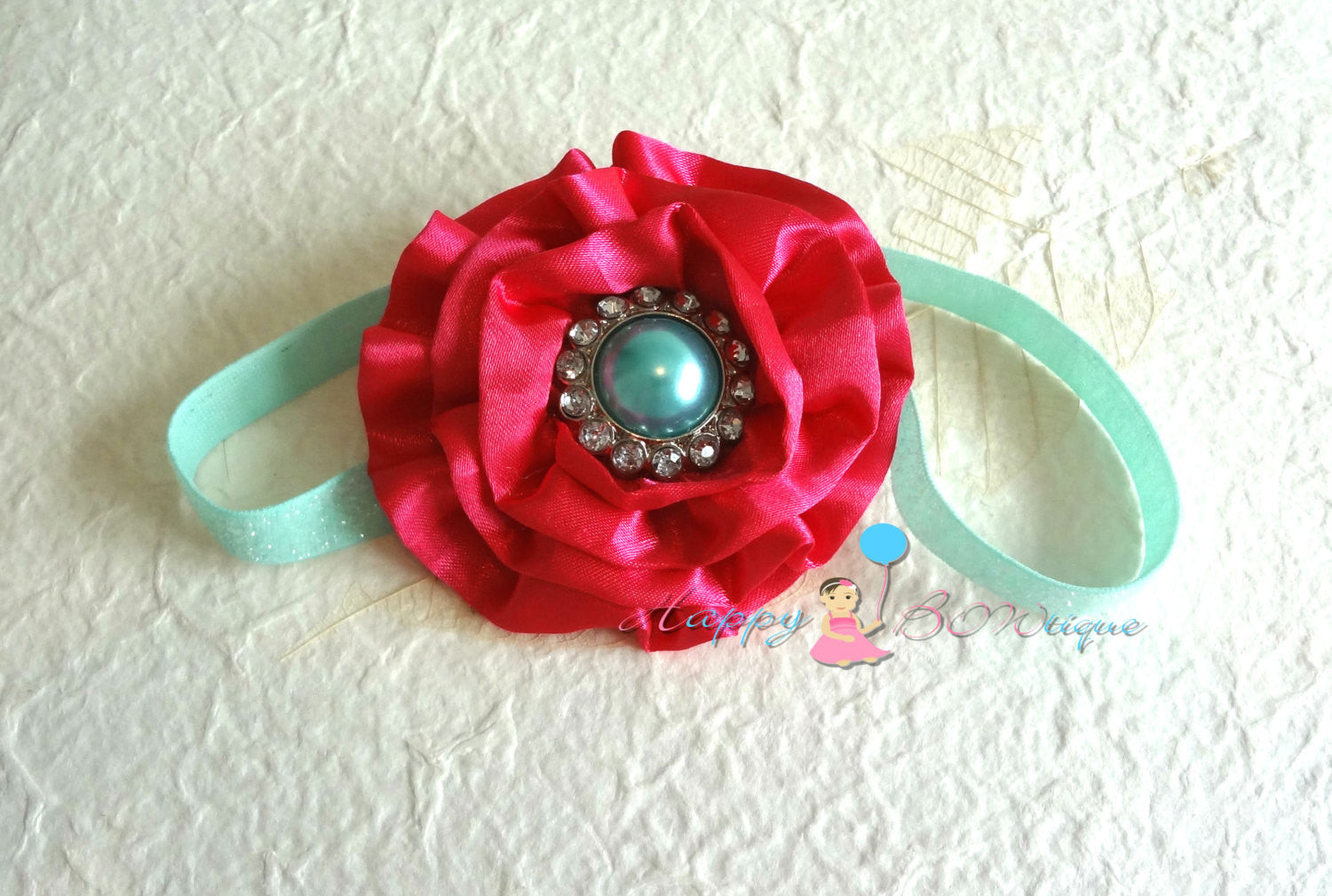 Hot Pink Satin Cabbage and Aqua headband - Happy BOWtique - children's clothing, Baby Girl clothing
