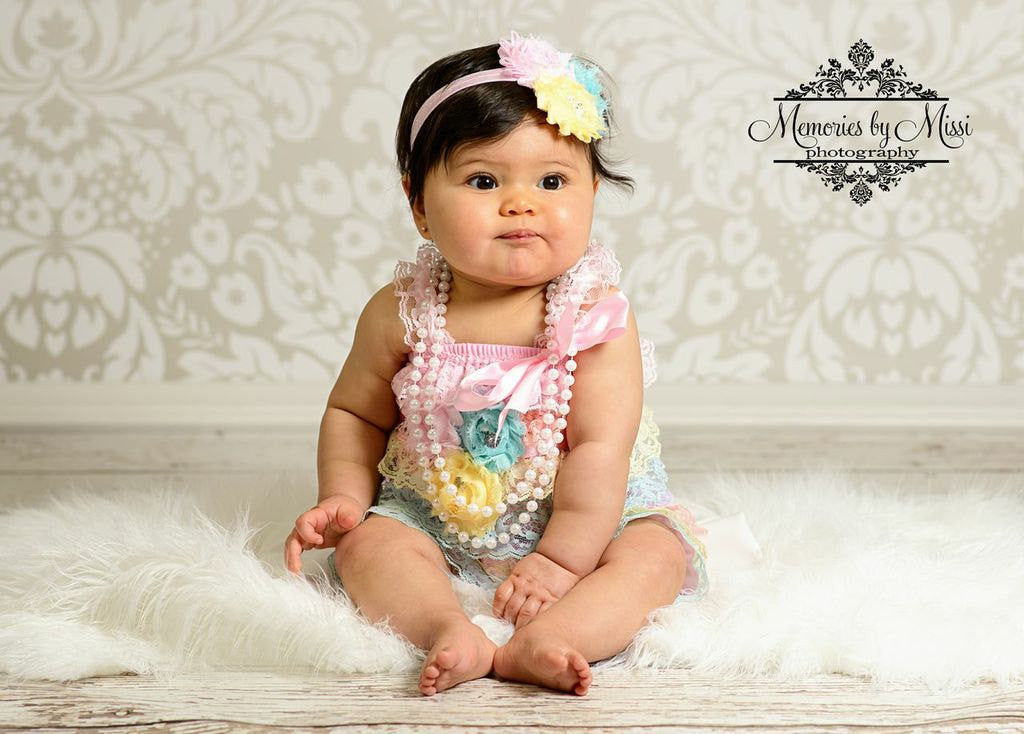Shades of Pastel Laces Petti Romper - Happy BOWtique - children's clothing, Baby Girl clothing
