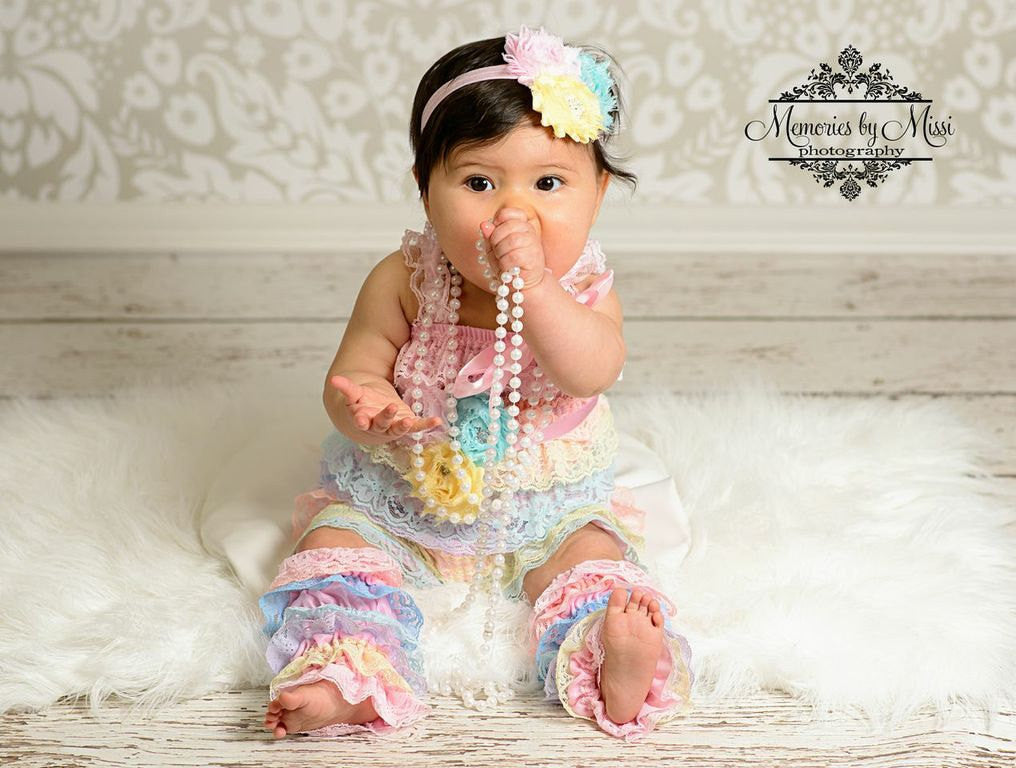 6cc3e9b38 Shades of Pastel Lace Petti Romper Set \/ Happy BOWtique \/ Romper Sets