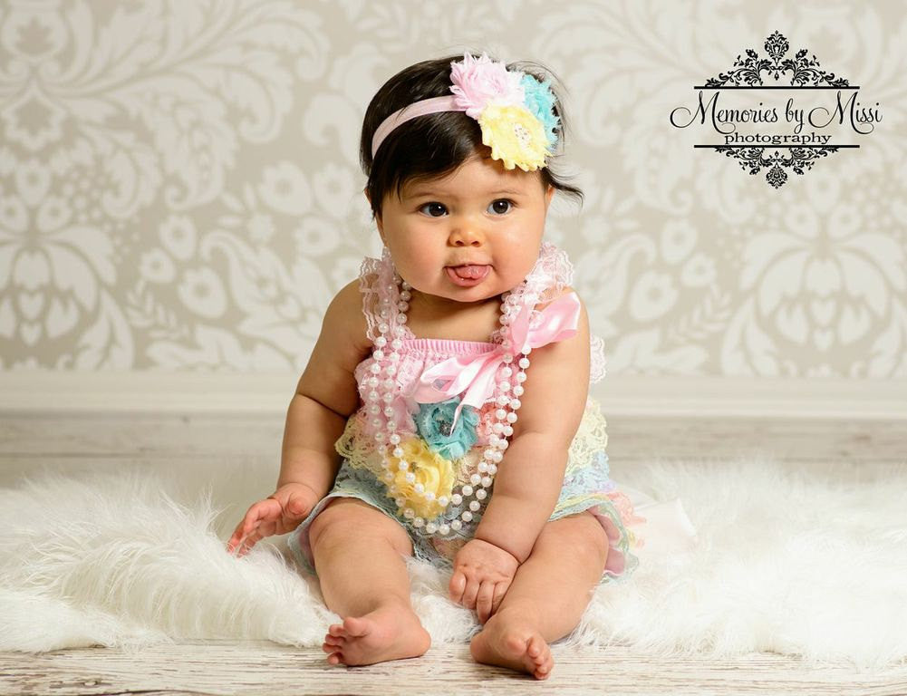 Shades of Pastel Lace Petti Romper Set - Happy BOWtique - children's clothing, Baby Girl clothing