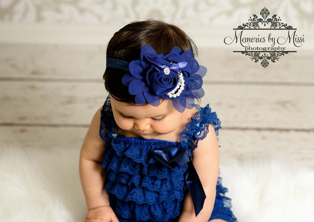 Beautiful Navy Blue Chiffon Rosette Pearls headband - Happy BOWtique - children's clothing, Baby Girl clothing