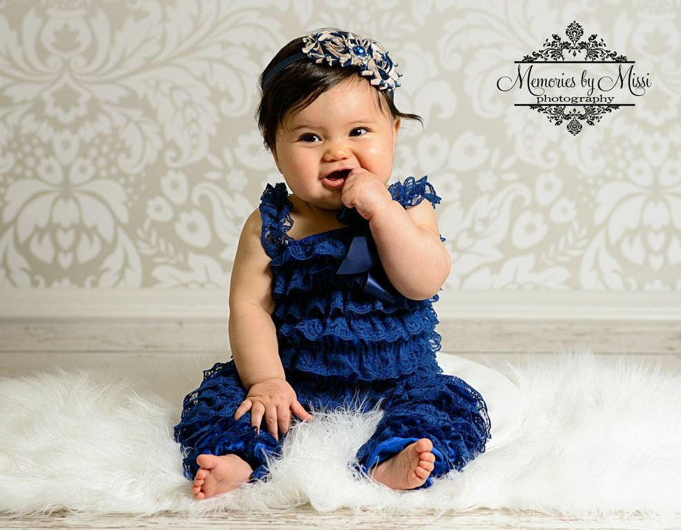 Navy Blue Romper set w/Legwarmers - Happy BOWtique - children's clothing, Baby Girl clothing