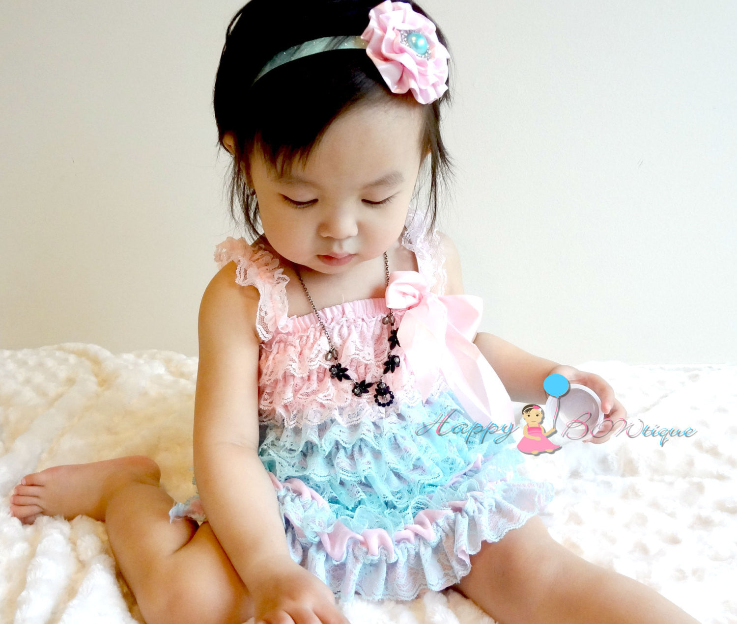 Girl Aqua Pink Petti Lace Dress ~ Baby Girl Aqua Pink Dress