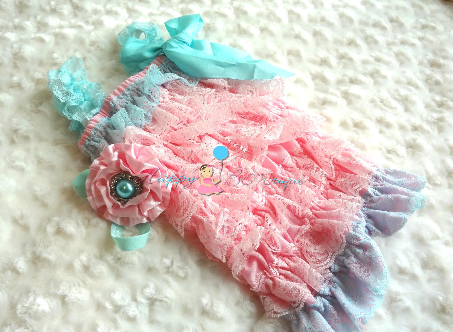 Light Pink Satin Cabbage and Aqua headband - Happy BOWtique - children's clothing, Baby Girl clothing
