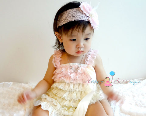 Ivory Blush Pink Lace Dress - Happy BOWtique - children's clothing, Baby Girl clothing