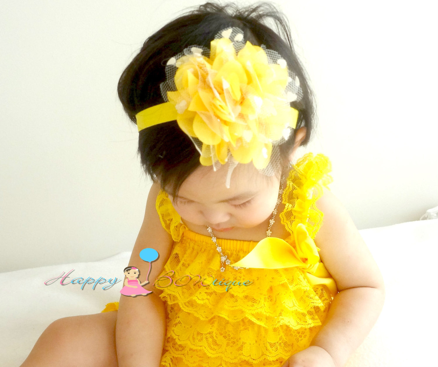 Large Yellow heart Dots Tutu Flower Headband - Happy BOWtique - children's clothing, Baby Girl clothing