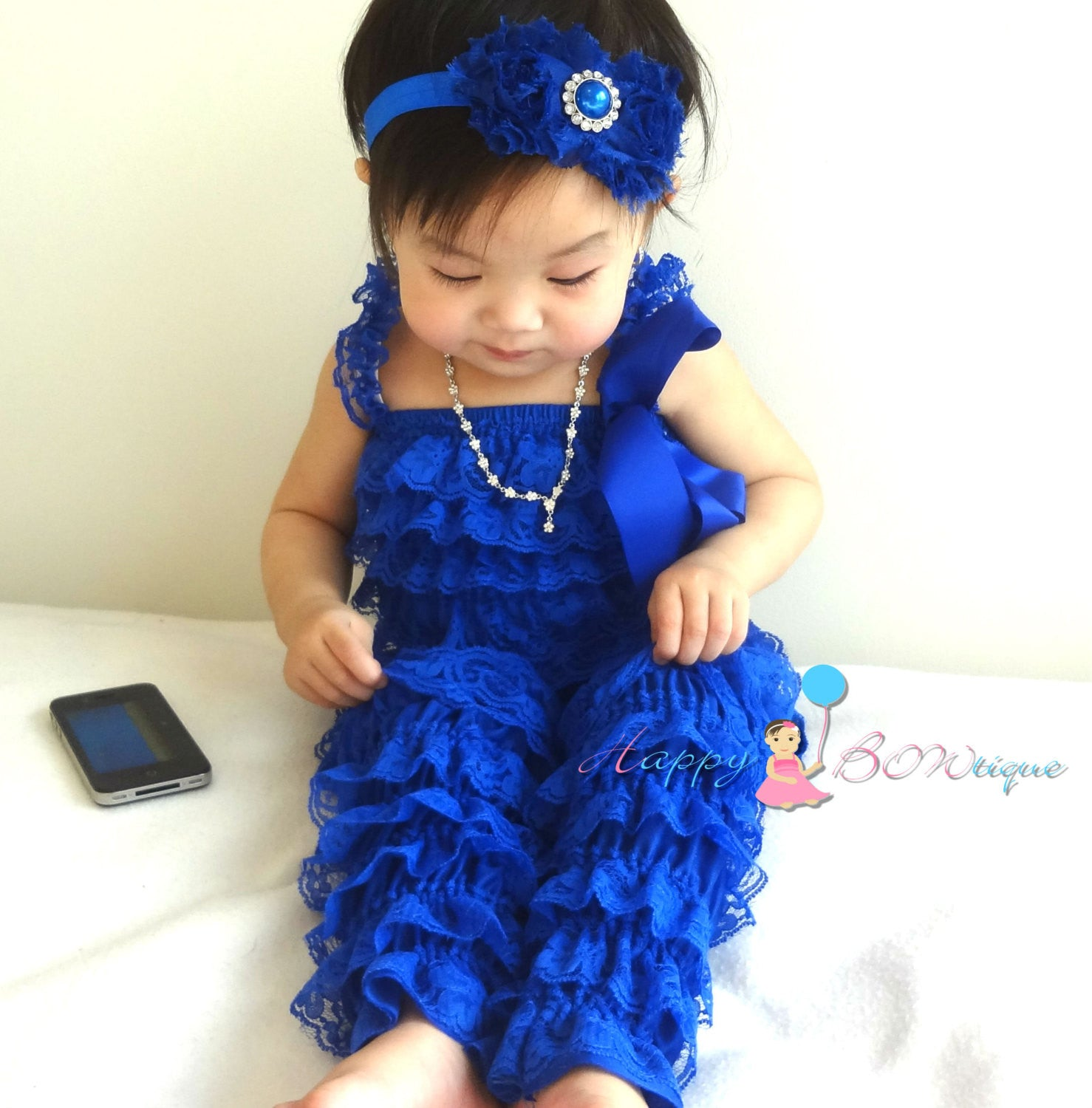 Royal Blue Lace Petti Romper +Legwarmers Set - Happy BOWtique - children's clothing, Baby Girl clothing