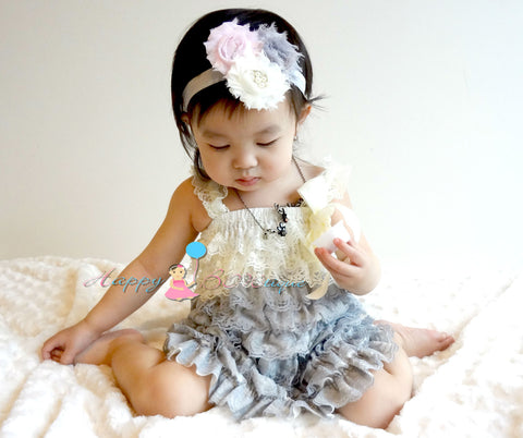 Ivory Grey Petti Lace Dress - Happy BOWtique - children's clothing, Baby Girl clothing