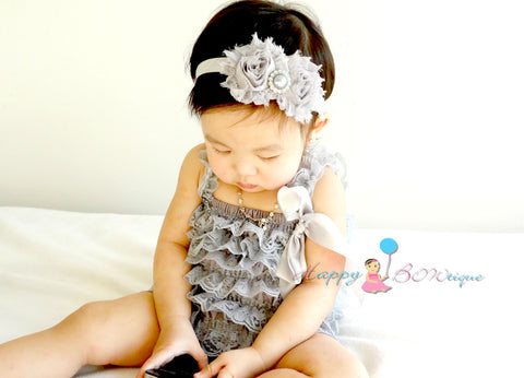 Silver Grey Lace Petti Romper - Happy BOWtique - children's clothing, Baby Girl clothing