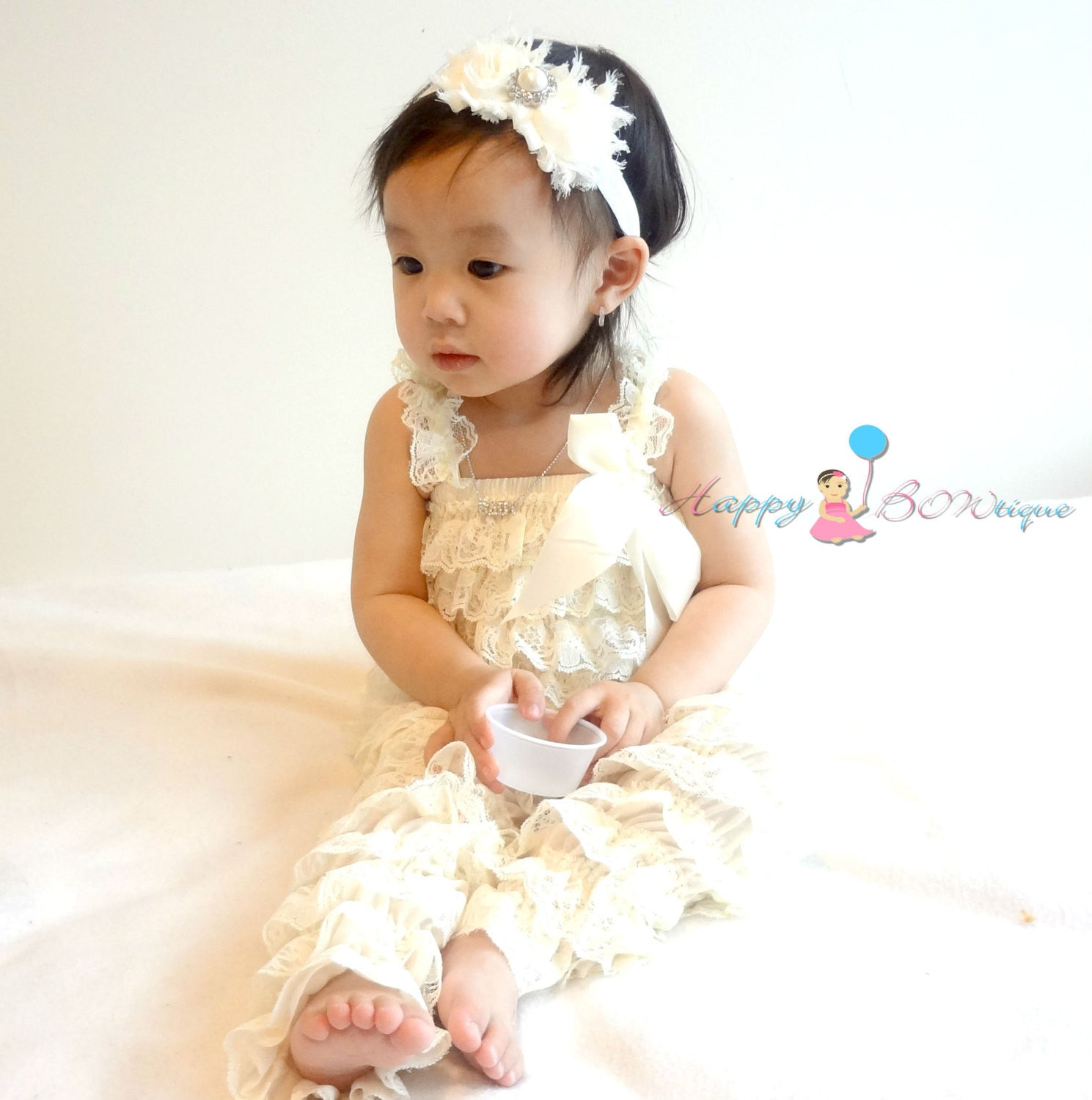 Vintage Ivory Petti Lace Romper set - Happy BOWtique - children's clothing, Baby Girl clothing