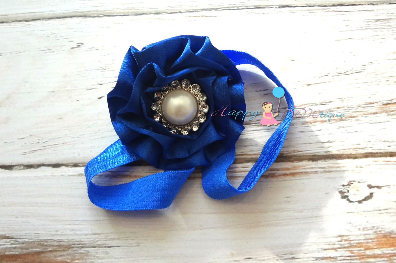 Royal Blue Satin Cabbage headband - Happy BOWtique - children's clothing, Baby Girl clothing