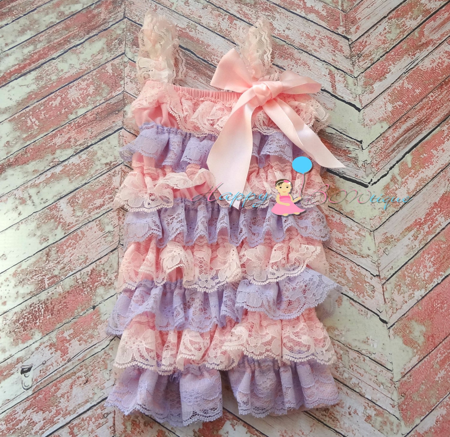 Lavender pink Lace Petti Romper - Happy BOWtique - children's clothing, Baby Girl clothing