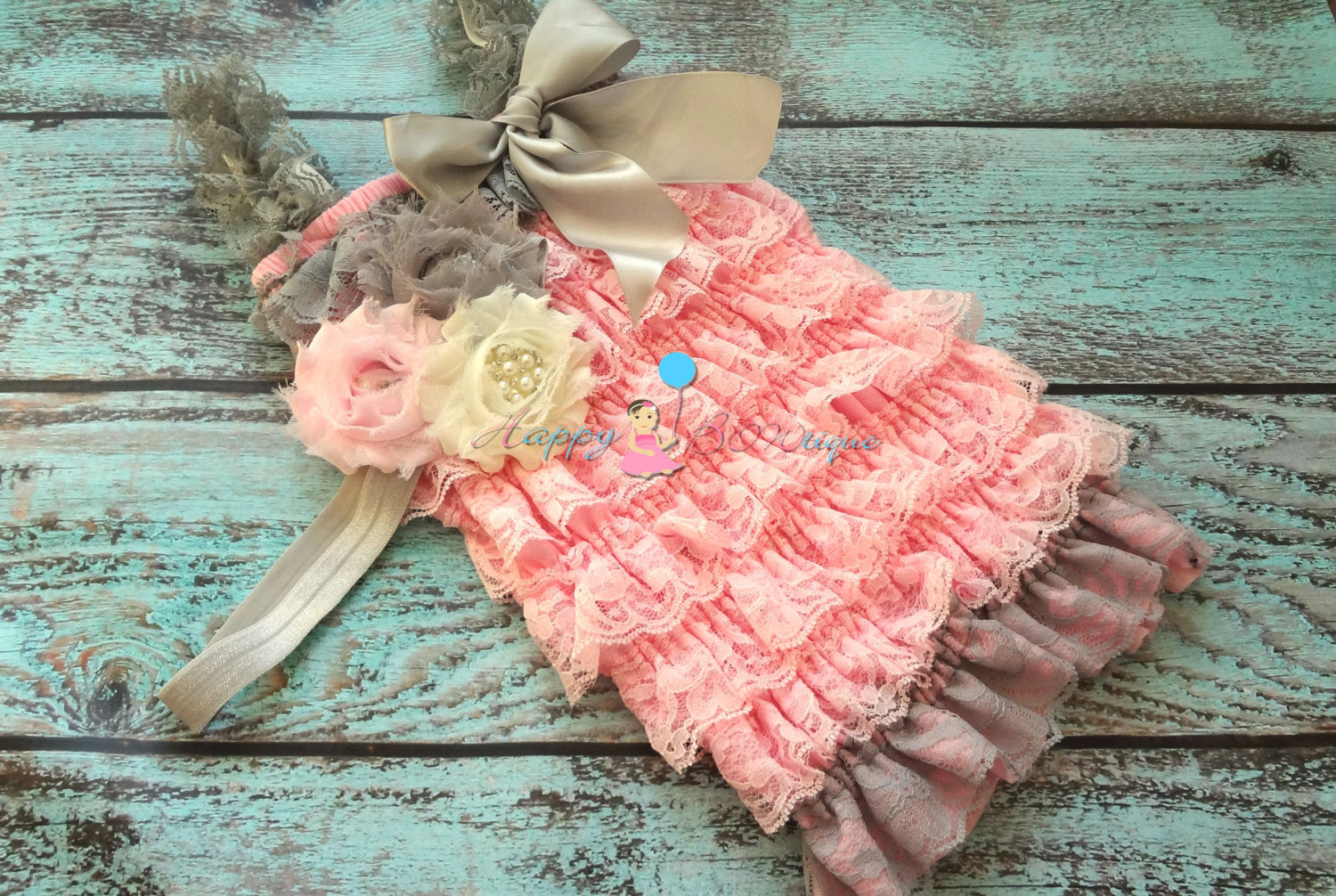 Silver Pink Petti Lace Romper Set - Happy BOWtique - children's clothing, Baby Girl clothing