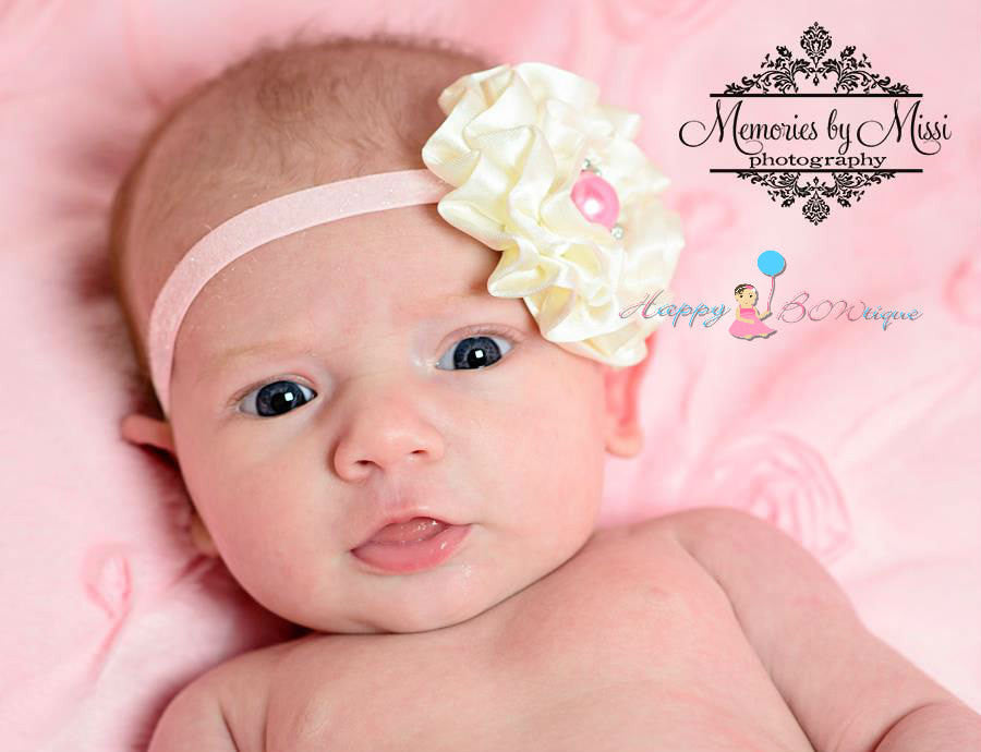 Ivory Satin Cabbage and Pink headband - Happy BOWtique - children's clothing, Baby Girl clothing