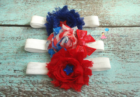 4th of July Trio Shabby headband set. Baby girl headband, newborn headband,  photo props, birthday headband, 4th of july, USA - Happy BOWtique - children's clothing, Baby Girl clothing