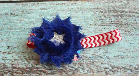 4th of July Stars and Chevron headband, Baby girl headband, newborn headband,  photo props, birthday headband, 4th of july, USA - Happy BOWtique - children's clothing, Baby Girl clothing