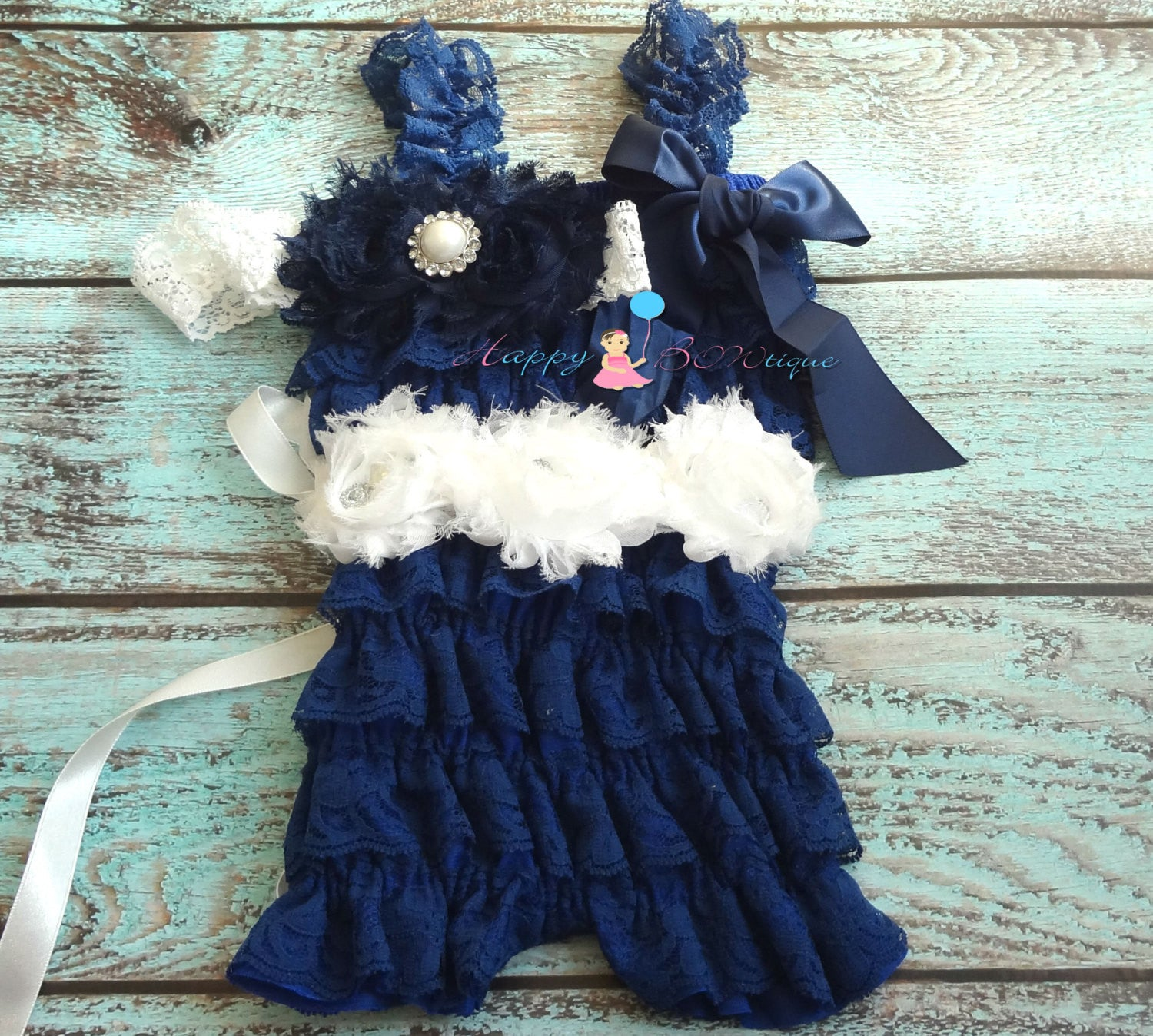 Nautical Blue Lace Petti Romper Set - Happy BOWtique - children's clothing, Baby Girl clothing