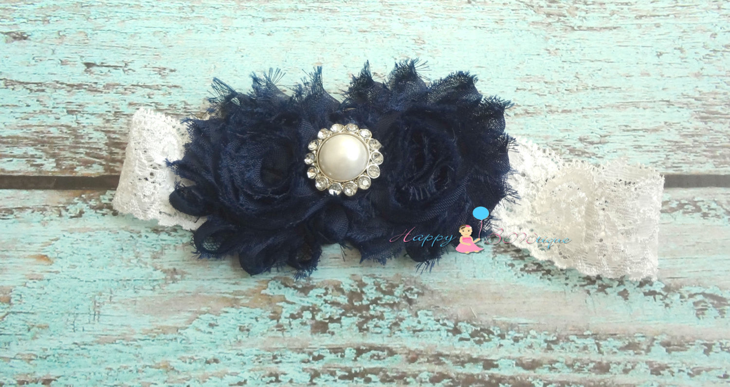 Duo Shabby Navy Blue Lace headband - Happy BOWtique - children's clothing, Baby Girl clothing