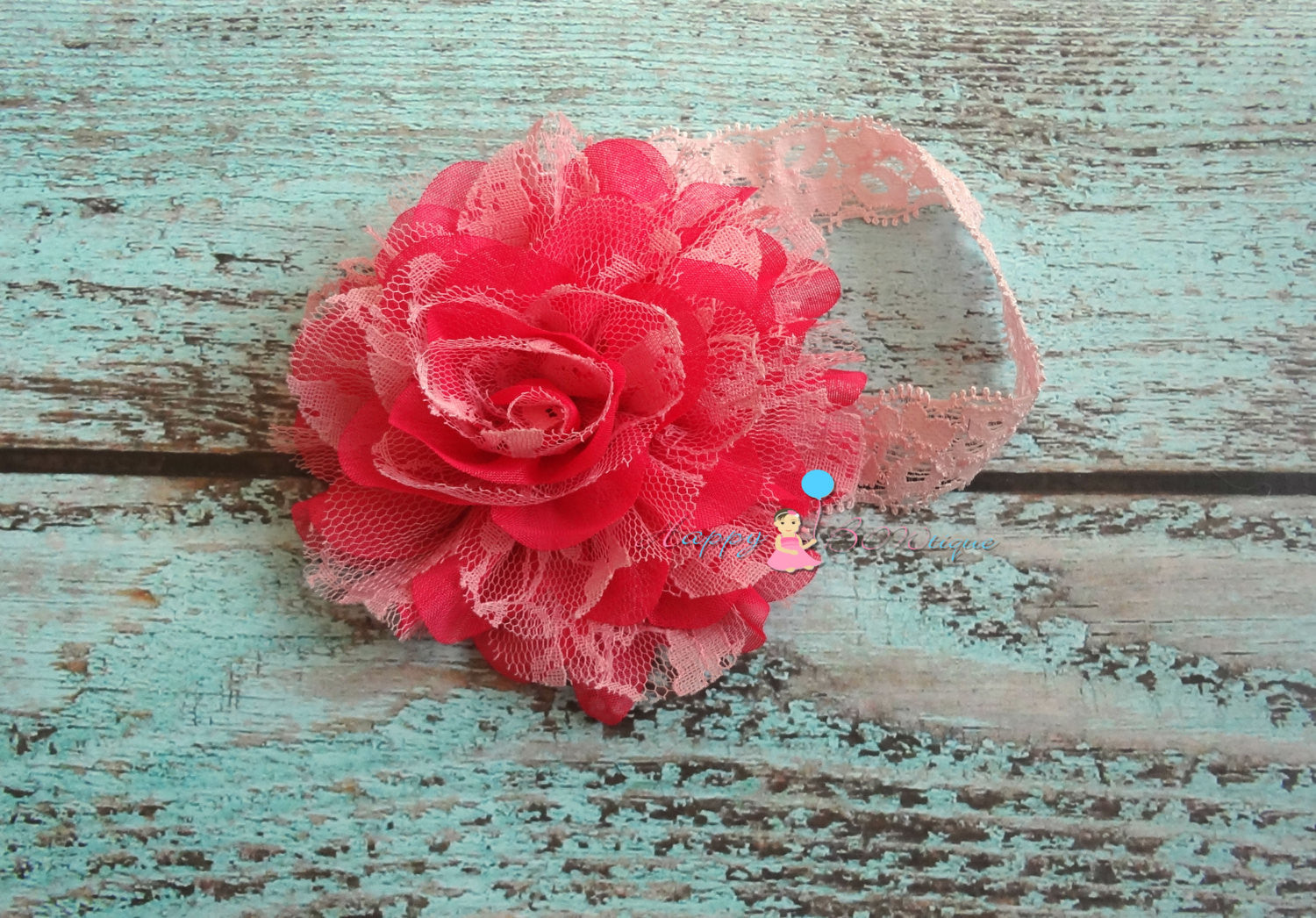 Large Shades of Pink Chiffon Lace puff headband - Happy BOWtique - children's clothing, Baby Girl clothing