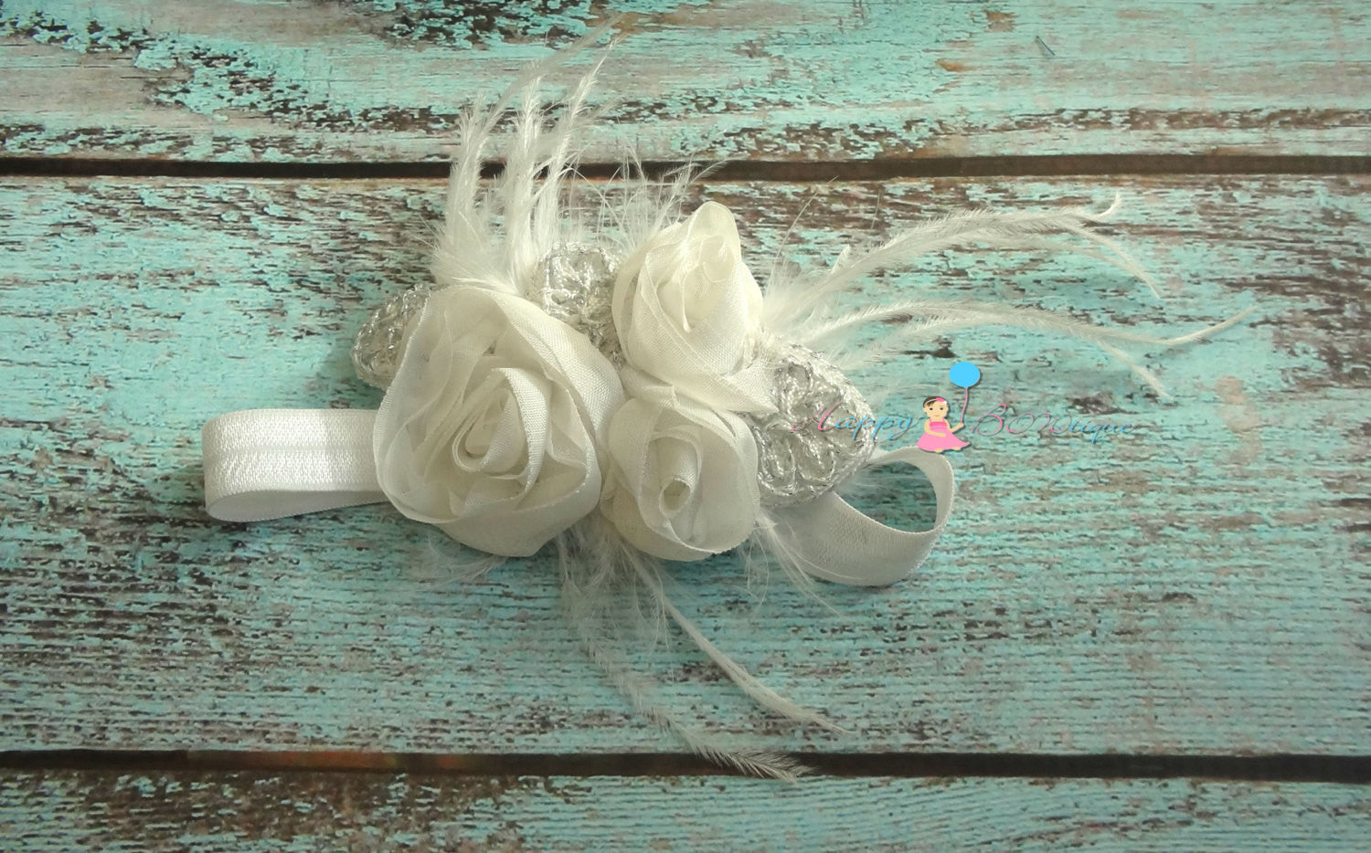 Victorian White Chiffon Feather Headband - Happy BOWtique - children's clothing, Baby Girl clothing