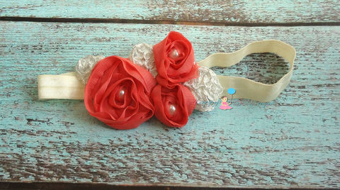 Coral Chiffon headbands - Happy BOWtique - children's clothing, Baby Girl clothing