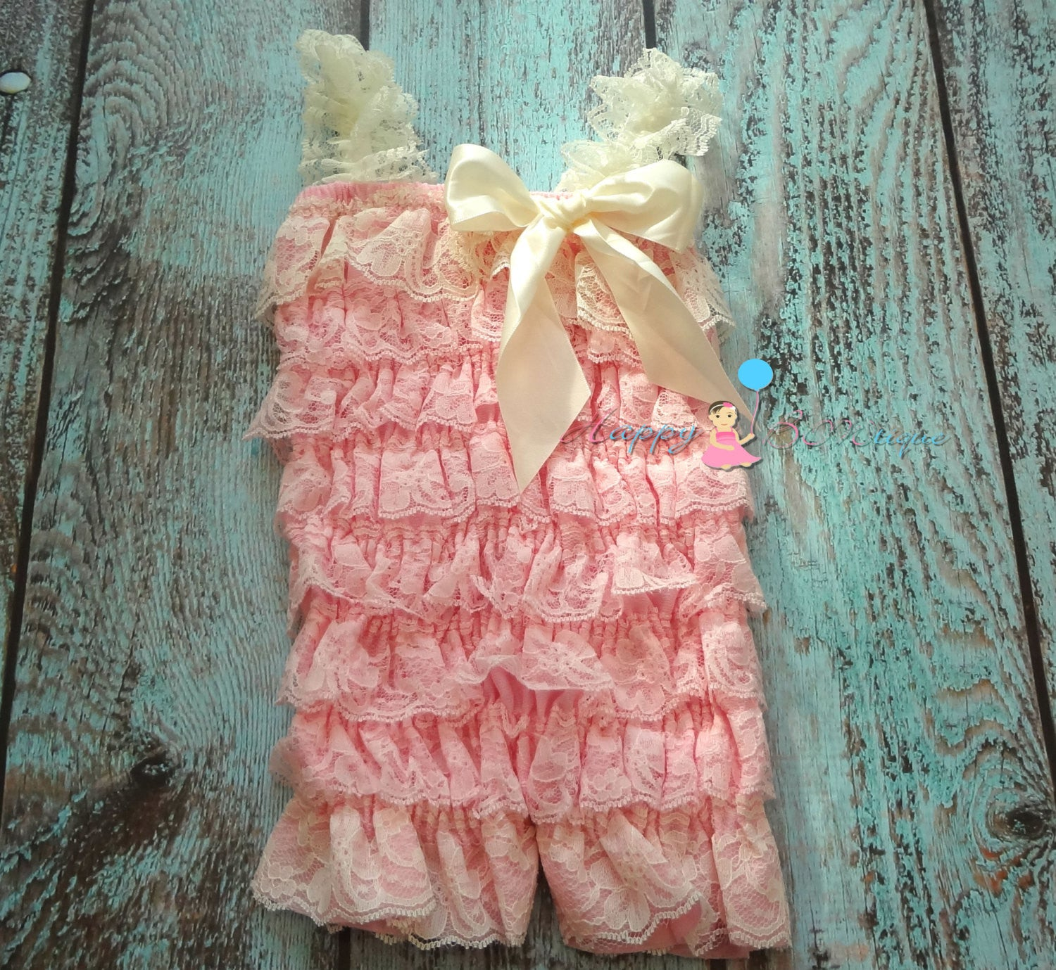 Ivory Pink Lace Petti Romper - Happy BOWtique - children's clothing, Baby Girl clothing