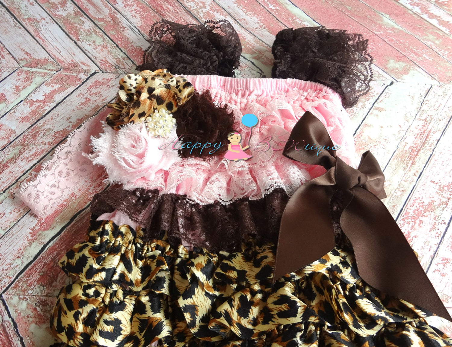 Pink Leopard Petti Lace Dress - Happy BOWtique - children's clothing, Baby Girl clothing