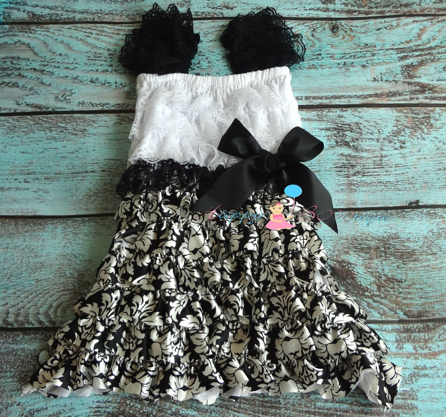 Clearance Damask Petti Lace Dress\ - Happy BOWtique - children's clothing, Baby Girl clothing