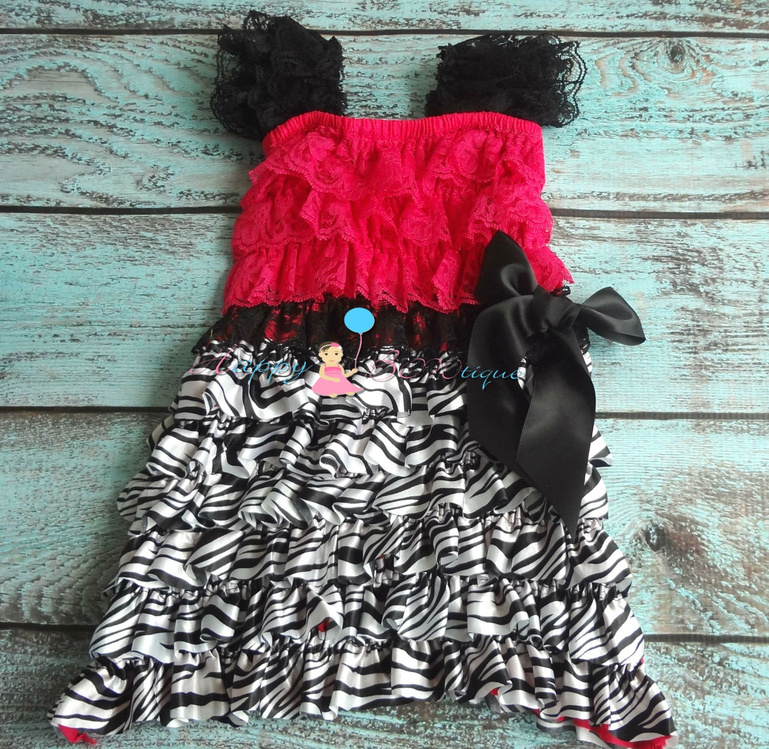 Clearance Hot Pink Zebra Petti Lace Dress - Happy BOWtique - children's clothing, Baby Girl clothing