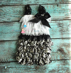 Damask romper set - Happy BOWtique - children's clothing, Baby Girl clothing