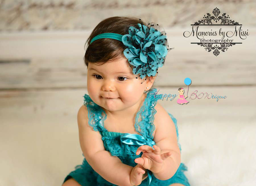 Large Peacock Teal Dots Tutu Flower Headband - Happy BOWtique - children's clothing, Baby Girl clothing