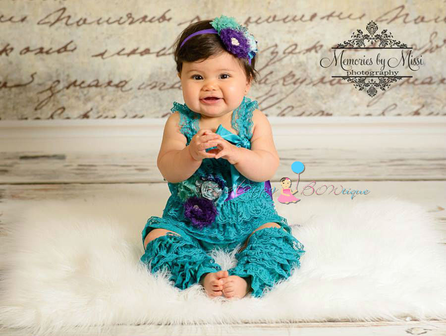 Peacock Teal Petti Lace Romper - Happy BOWtique - children's clothing, Baby Girl clothing