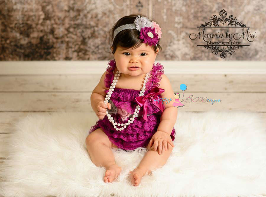 Raspberry Grey Plum lace Petti Romper Set ~Baby Girl Petti Lace Romper, Happy bowtique