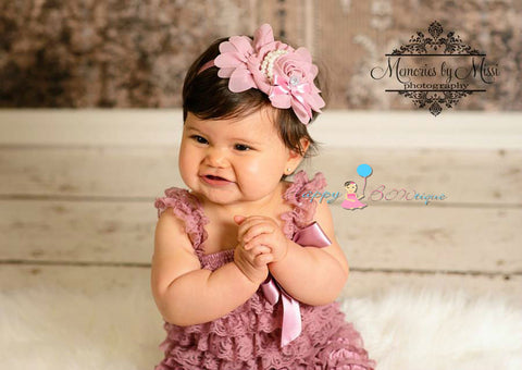 Dusty Rose Chiffon Rosette headband - Happy BOWtique - children's clothing, Baby Girl clothing