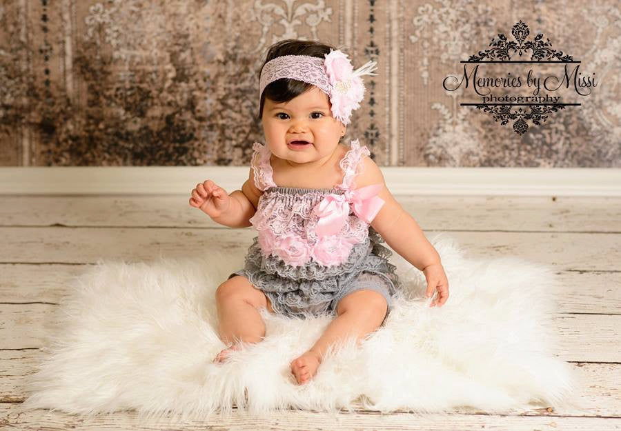 Silver Pink Lace Petti Romper - Happy BOWtique - children's clothing, Baby Girl clothing