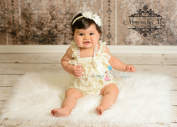 Vintage Ivory Lace Petti Romper - Happy BOWtique - children's clothing, Baby Girl clothing