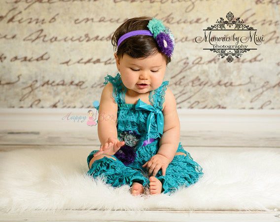 Peacock Teal Lace Petti Romper set - Happy BOWtique - children's clothing, Baby Girl clothing