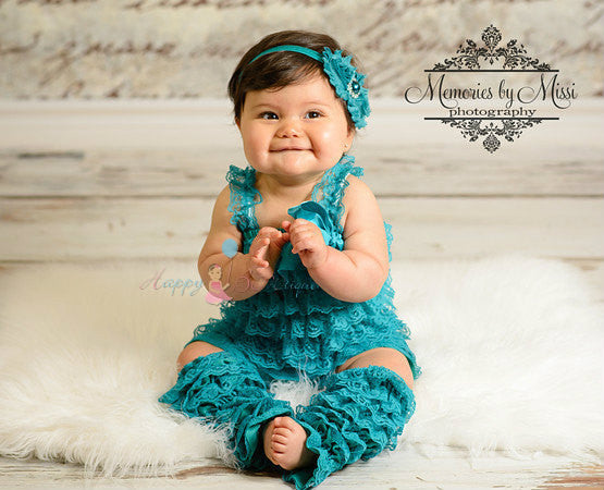 Duo Shabby Peacock Teal headband - Happy BOWtique - children's clothing, Baby Girl clothing