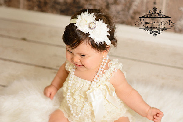 Ivory Petti Lace Romper Set - Happy BOWtique - children's clothing, Baby Girl clothing