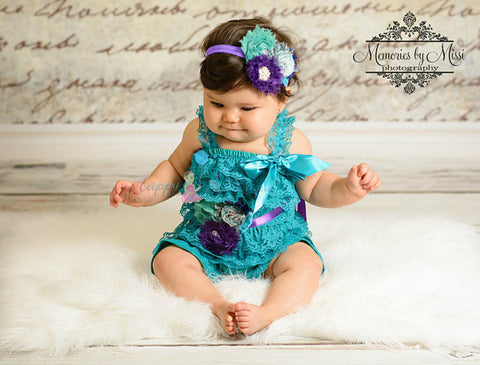 Royal Blue Lace Petti Romper Legwarmers Set / Baby Girl Royal Blue Romper Set
