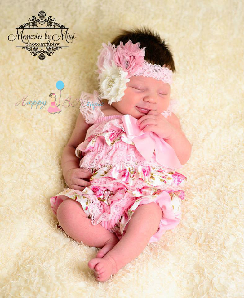 Exclusive Satin Vintage Roses Petti Lace Romper - Happy BOWtique - children's clothing, Baby Girl clothing