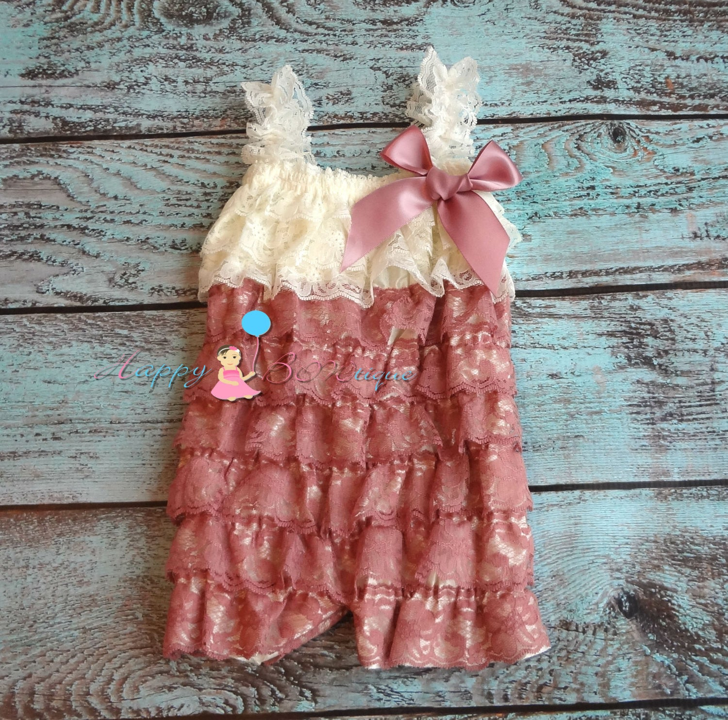 Dusty Ivory Rose Petti Lace Romper - Happy BOWtique - children's clothing, Baby Girl clothing