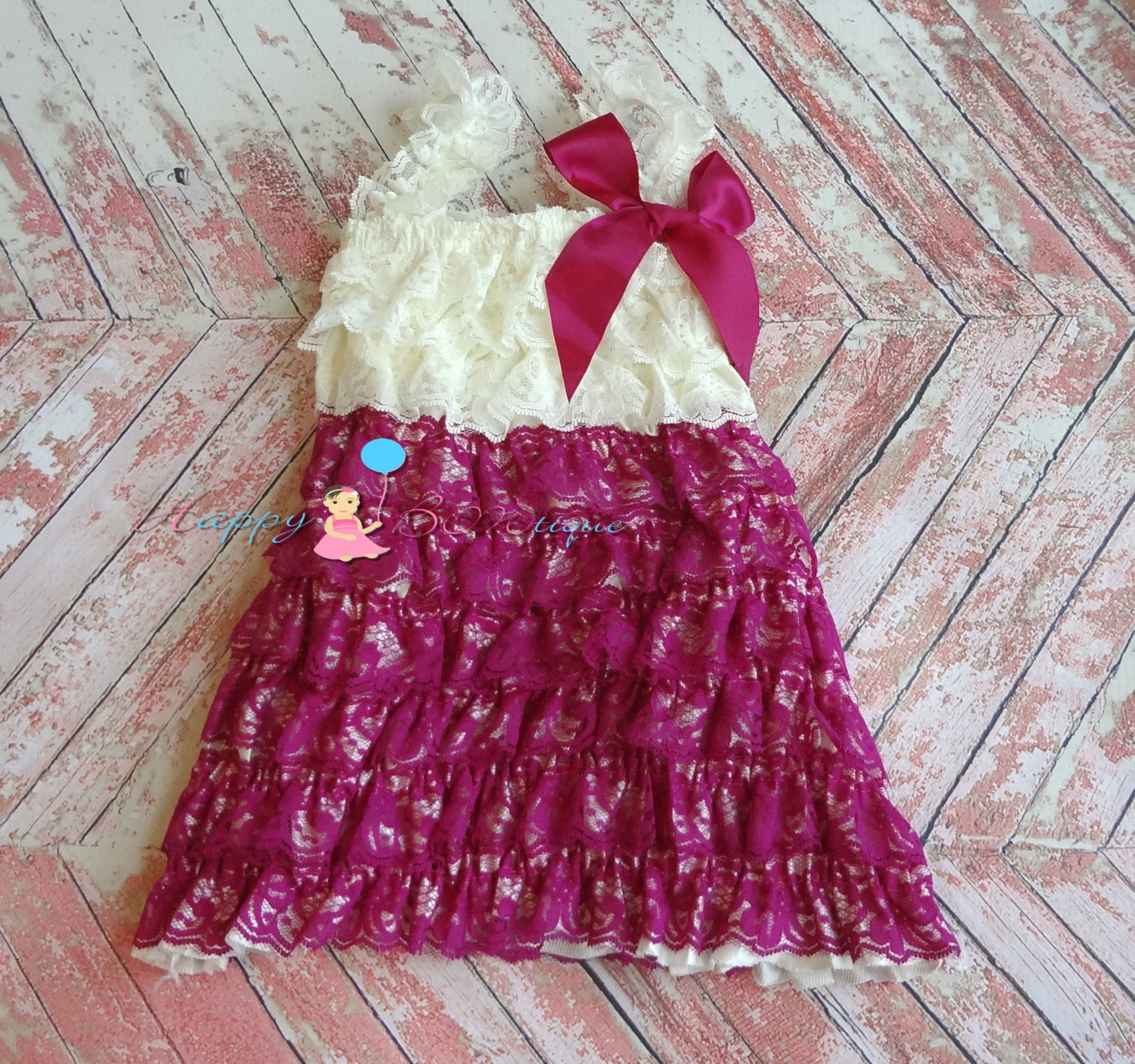 Raspberry Ivory Plum Petti Lace Dress - Happy BOWtique - children's clothing, Baby Girl clothing