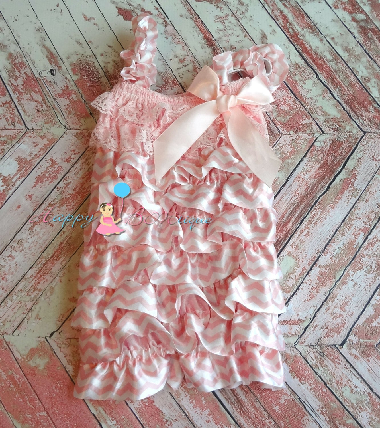 Sweet Pink Chevron Romper - Happy BOWtique - children's clothing, Baby Girl clothing