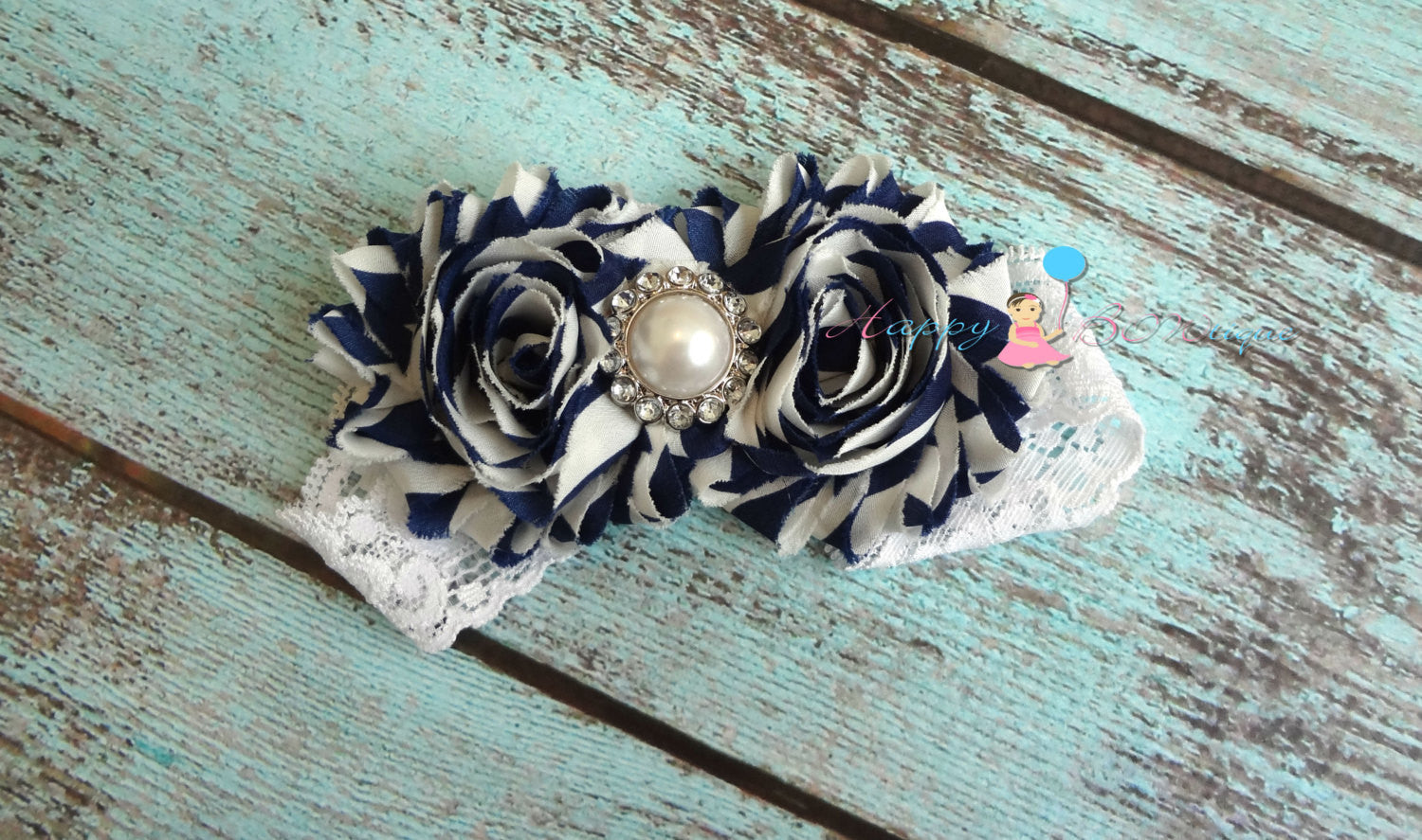 Gorgeous Navy and White Stripes Duo Shabby Headband - Happy BOWtique - children's clothing, Baby Girl clothing
