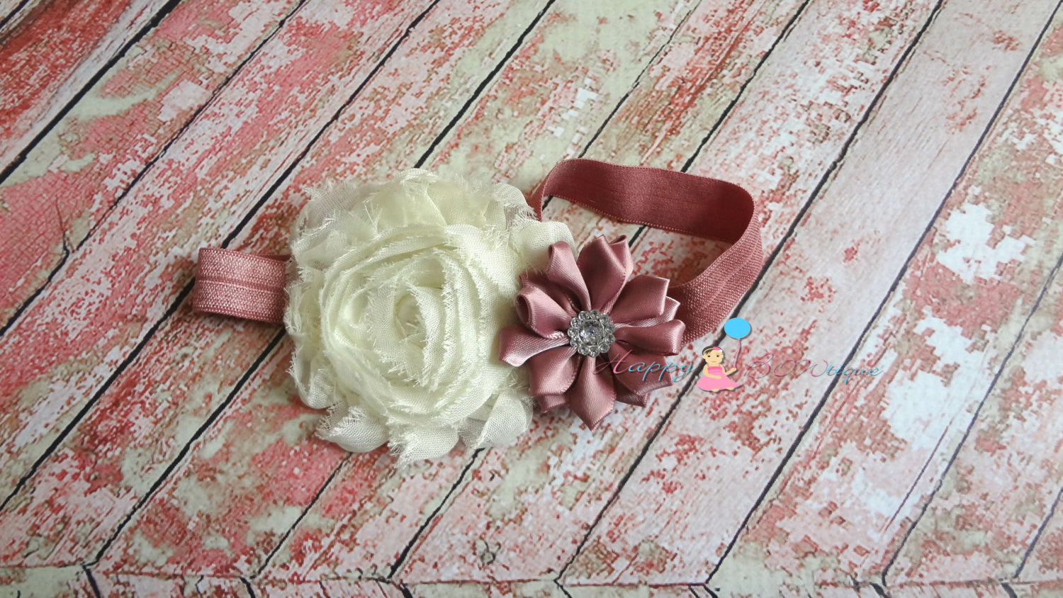 Satin and shabby flower Pretty Pink headband - Happy BOWtique - children's clothing, Baby Girl clothing